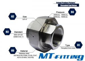 F304 / 304L 1/2 inch 3000LBS Stainless Steel Union Threaded Forged High Pressure Pipe Fitting