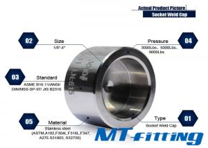 Forged High Pressure Fitting F304 / 304L 2 inch Stainless Steel Socket Welded Cap
